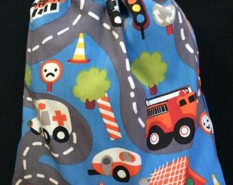 reversible DrawString bag vehicles (truck, backhoe, crane,...)