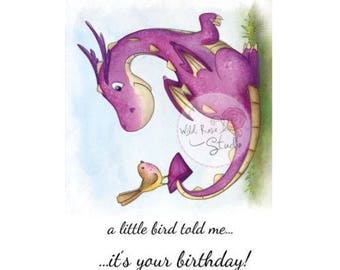 Wild Rose Studio Dragon and Bird new clear stamp