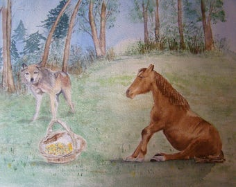 The Wolf and horse. Watercolor in shades of Brown and green showing Jean De La Fontaine fable