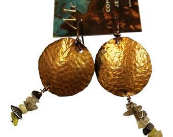 Handcrafted Hammered Copper Dangle Earrings