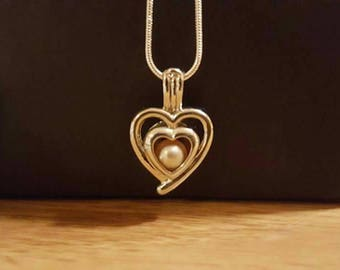 925 Sterling Silver Double Heart Pearl Cage Pendant with 20 inch 925 Sterling Chain