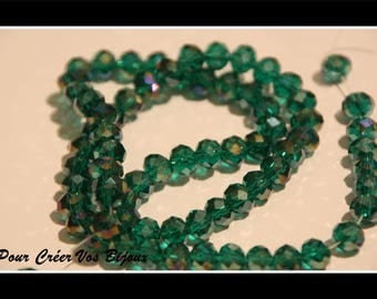 Set of 5 beads faceted glass Emerald AB 8x6mm