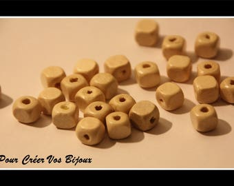 Set of 100 wooden beads of neutral color 8mm