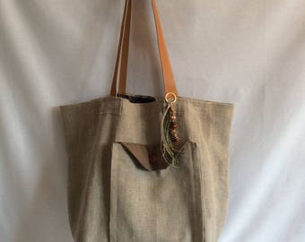 Linen ruffled straps camel leather tote bag