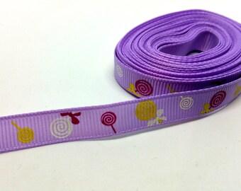 Ribbon grosgrain Ribbon 10mm - lollipop candy Lollipops - purple - sewing Scrapbooking Cardmaking