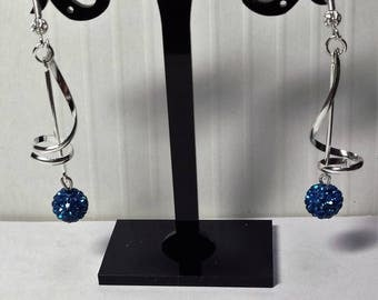 Earrings bright blue shambala spirals