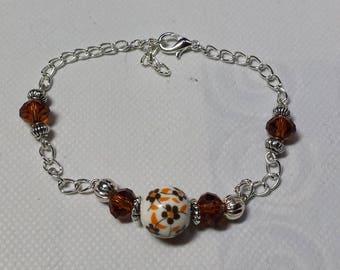 Porcelain and Brown swarovski crystal silver bracelet