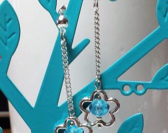 Aquamarine Blue Crystal Flower Earrings
