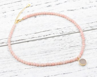 Pink Opal Beaded Choker Necklace With Small Druzy Charm For Bridesmaids Jewelry Party Gift Natural Gemstone Necklaces