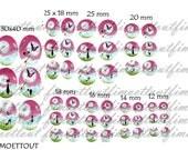 48Image digitale cabochon Chat et dandelion3 ton rose(envoi mail)