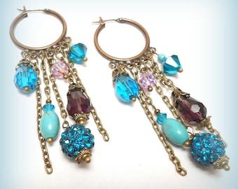 """Hoop earrings with pearls """"Magic Blue"""""""