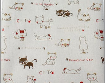 Cotton fabric and linen cat pattern