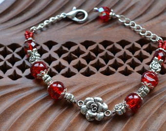 Flowers - red and Crystal beads bracelet