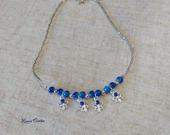 Silver, adjustable ankle chain, butterflies, Rhinestones, dark blue
