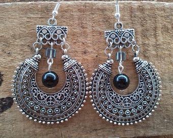 Black Pearl and spirit hoop Silver earrings