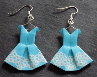 Lace dresses origami earrings blue aqua - Rainbow collection