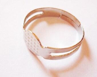 Set of 10 blank ring adjustable silver tone metal