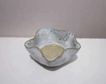 Blue white ceramic flower dish
