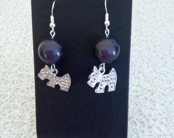 dog charm and Pearl Stud Earrings