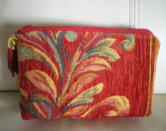 small vintage tapestry style red floral velvet makeup case