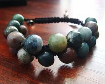 Indian Agate Gemstone Bracelet,2 row natural gemstone beads, Shamballa bracelet jewelry  10mm,Indian Agate jewelry