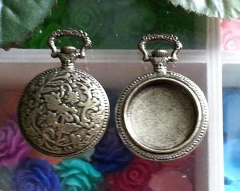 top: 19 mm support cabochon. 38 x 27 x 4 mm, hole: 5 x 9 mm antique bronze