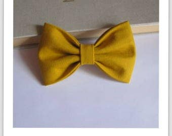 Bow tie, 2 in 1 mustard yellow hair clip