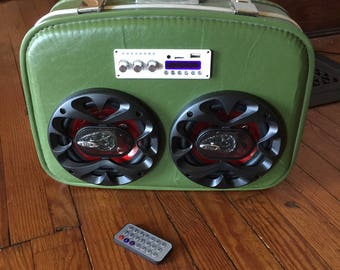 Upcycled Vintage Suitcase, Boombox, Bluetooth Radio, Remote Controlled