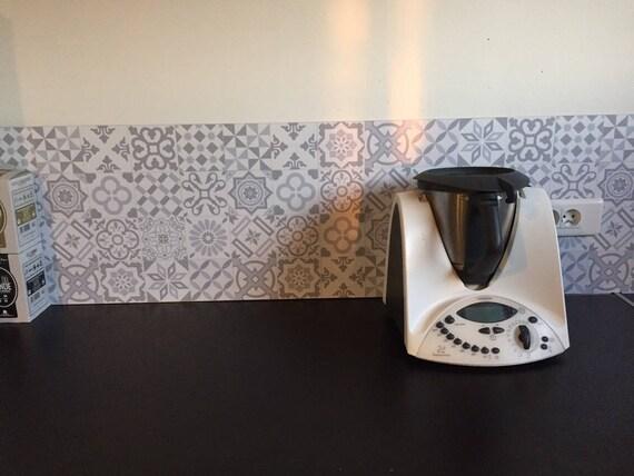 Sur commande stickers cr dence pour cuisine ou salle de bains - Credence adhesive carreau ciment ...