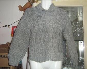 Grey boy sweater Irish collar shawl 6 years.