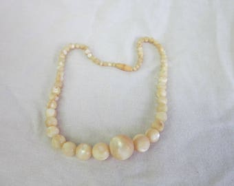 Antique Real Natural Banded Agate Cream Stone Beads Necklace Beautiful