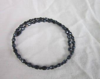Vintage Designer Lydell New York City Faceted Black Glass Beaded Choker Necklace