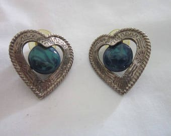 Vintage Retro Silver ToneHeart Shaped Pierced Earrings with Marbled Cabochon