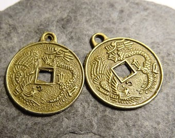 2 pieces coin double-sided Chinese dragon and brass Asian symbols