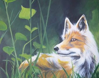 16x20 Acrylic Fox Painting