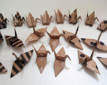 Set of origami cranes: Triple Kraft Collection