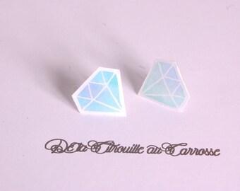 Simple Stud Earrings, pastel, blue and white diamond pattern