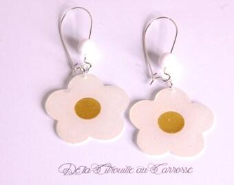White and Gold Flower Earrings