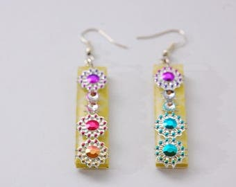 Earrings Bollywood style, yellow and multicolored,