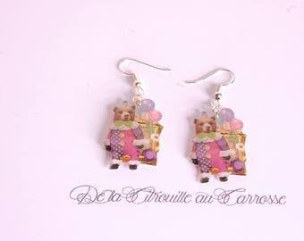 Circus bear earrings