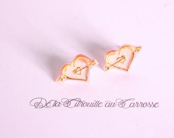 Coral and gold heart ear studs