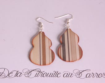 Calabash, Brown stripes earrings