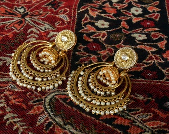 Gold Chandelier Earrings | Pearl | Indian Jewellery | Bollywood Jewellery