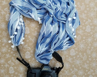 Scarf dSLR Camera Strap, Fabric Camera Strap, Custom Camera strap, Photography, Pompoms, Feathers, Blue and White