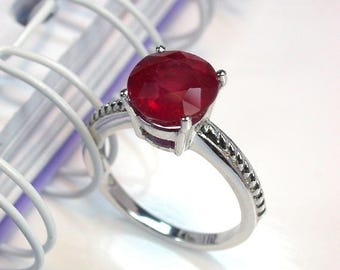 3.9 ct Natural red ruby ring sterling silver wedding ring.