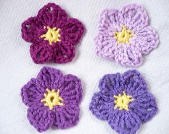 set of 4 purple crochet flowers