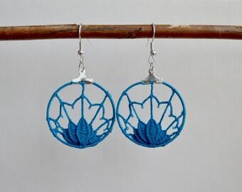 7 points of mind fan earrings ocean blue