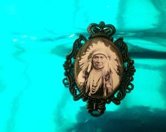 Brooch resin Native American vintage pinup Goth punk rock lolita
