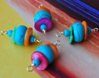 Connectors in turquoise and Pearl orange fuschia and green