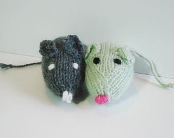 Knitted mouse - handmade - gray and green